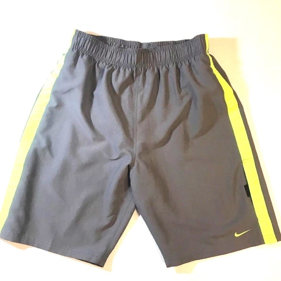 c973321d5cf20 Nike Swim | Mens Gray Neon Yellow Stripe Shorts S | Poshmark